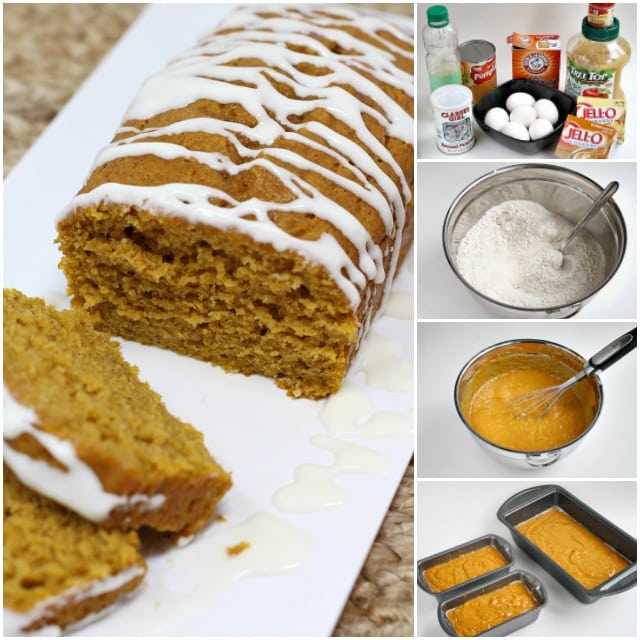 Pumpkin Bread that is soft and delicious because it is made with vanilla and butterscotch pudding mixes and then it is drizzled with a cream cheese glaze!