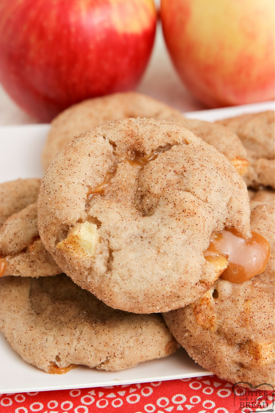 Snickerdoodle Cookies filled with apples and caramel