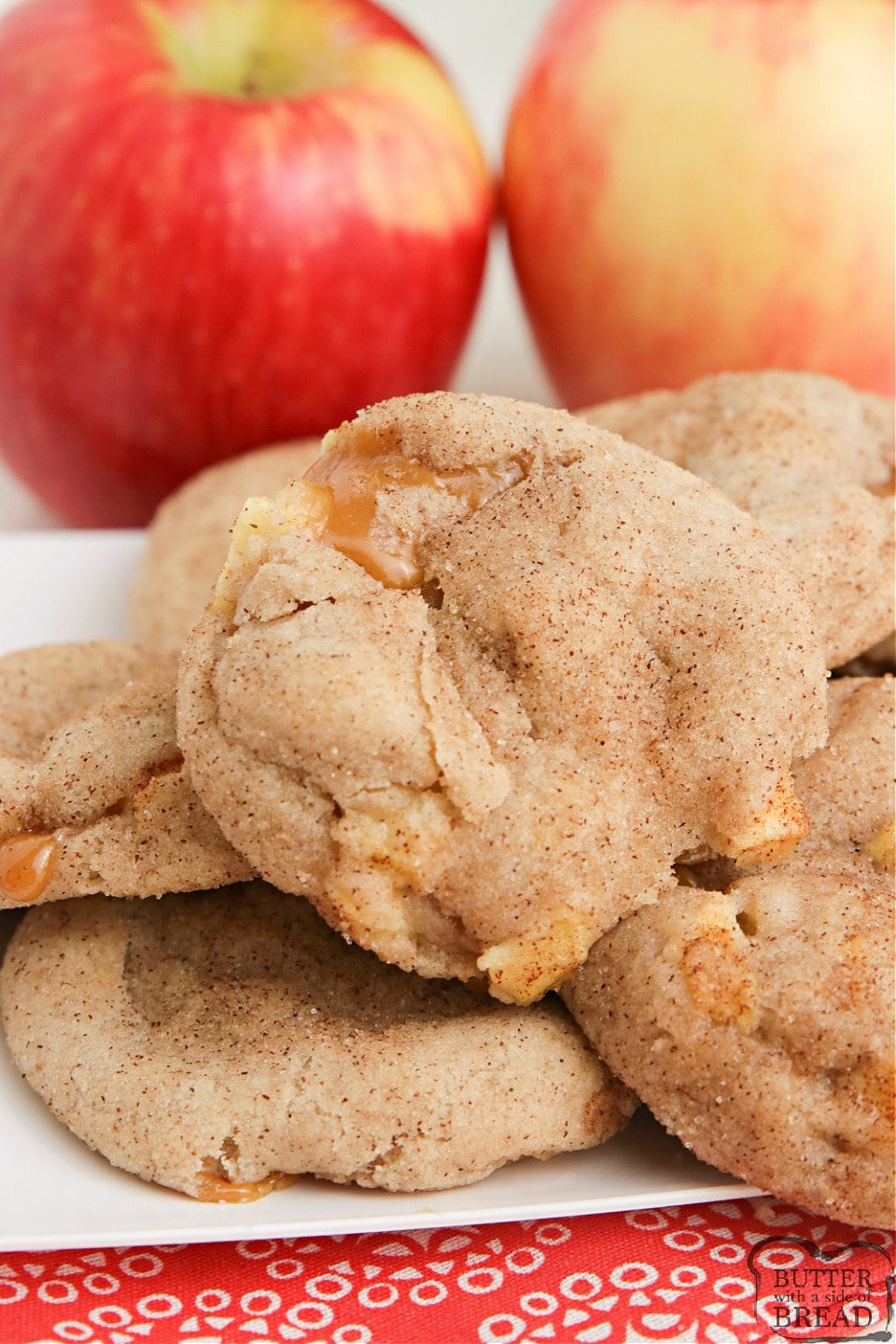 Caramel Apple Snickerdoodles combine the taste of your favorite cinnamon sugar cookie with the deliciousness of chewy caramel and fresh apples too! Soft, chewy and absolutely delicious!