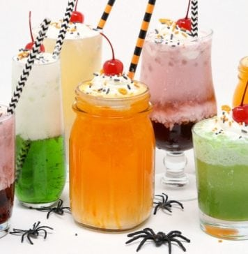 Halloween Cream Sodas made with sweet syrups, cream and club soda are a delicious & festive addition to any Halloween party!