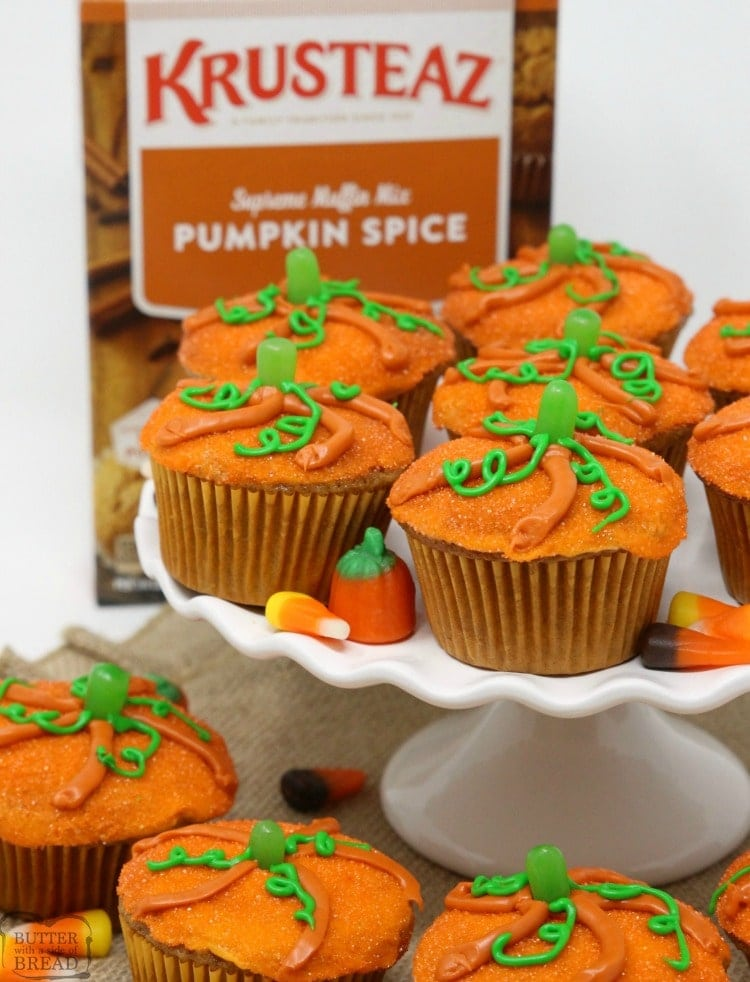 Pumpkin Muffins baked then topped with a simple glaze and orange sprinkles made to look like a cute pumpkin! Great pumpkin spice flavor & festive too!