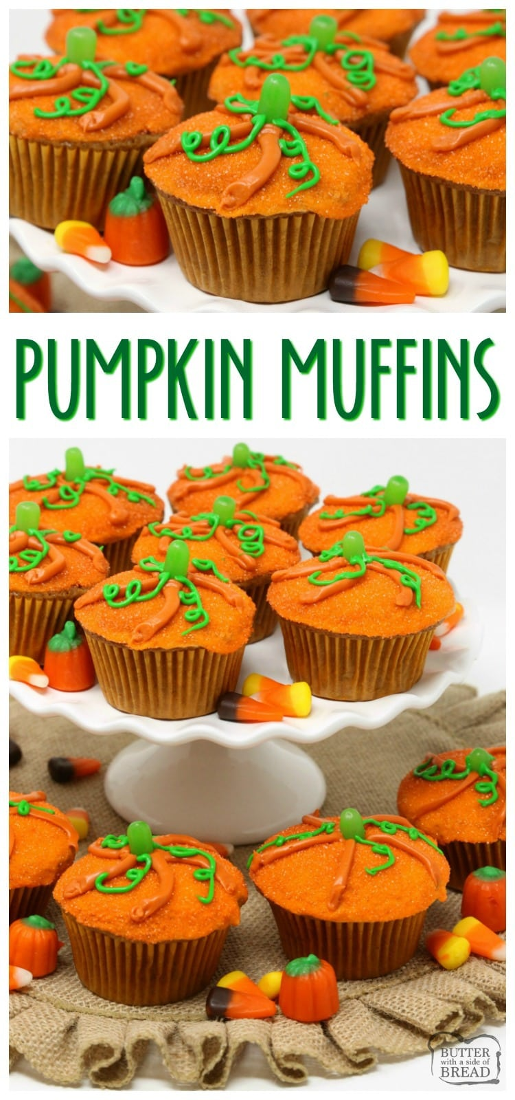 Pumpkin Muffins baked then topped with a simple glaze and orange sprinkles made to look like a cute pumpkin! Great pumpkin spice flavor & festive too!  Easy #pumpkin #muffin recipe from Butter With A Side of Bread