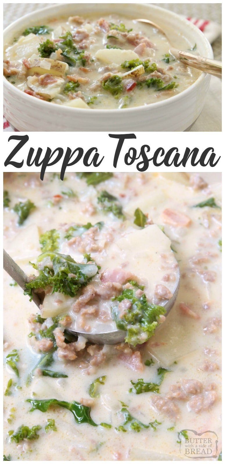 Zuppa Toscana with Italian sausage, potatoes, bacon & kale. Delightfully creamy soup with great flavor & easy to make at home.Time saving tips included!