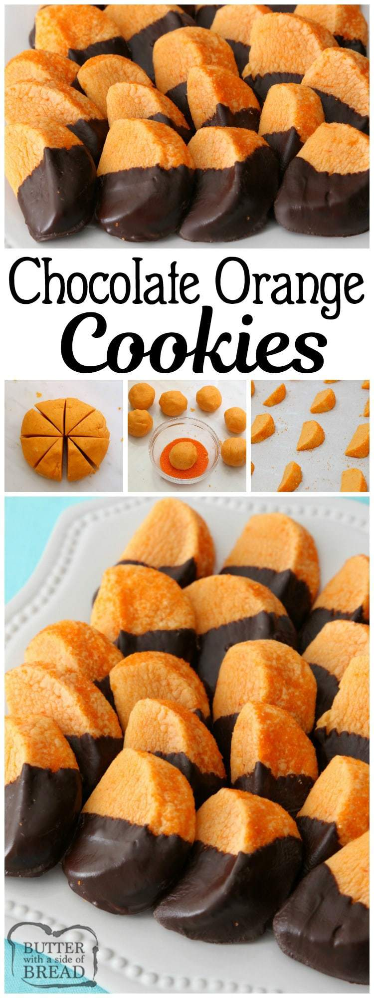 Chocolate Orange Cookies mimic orange slices dipped in chocolate. Bright, tangy citrusy flavor comes from #orange Kool-Aid mix baked into the #cookies! Fun #cookie recipe for the #holidays from Butter With A Side of Bread