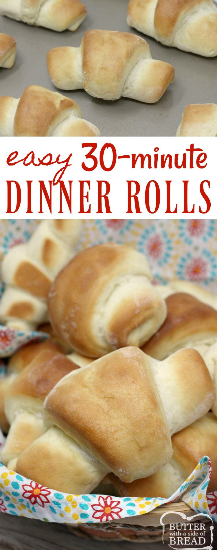 Easy 30-Minute Dinner Rolls are made with a few basic ingredients, you don't need a mixer, and they turn out perfectly soft and delicious every time! Delicious #homemade #dinner #rolls #bread #recipe from Butter With A Side of Bread #yeast #easy