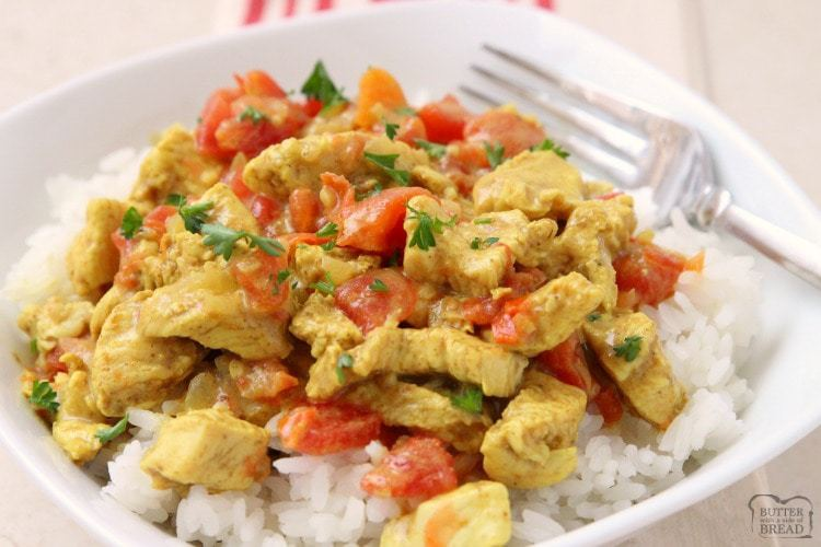 Coconut Curry Chicken recipe perfect for a busy weeknight meal! Simple, flavorful and healthy chicken dinner for anyone who loves a mild curry recipe. Our Coconut Curry Chicken recipe uses diced tomatoes, coconut milk and just enough curry to add flavor, but not make it too spicy. It's the perfect curry recipe for families!