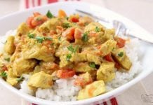 Coconut Curry Chicken recipe perfect for a busy weeknight meal! Simple, flavorful and healthy chicken dinner for anyone who loves a mild curry.