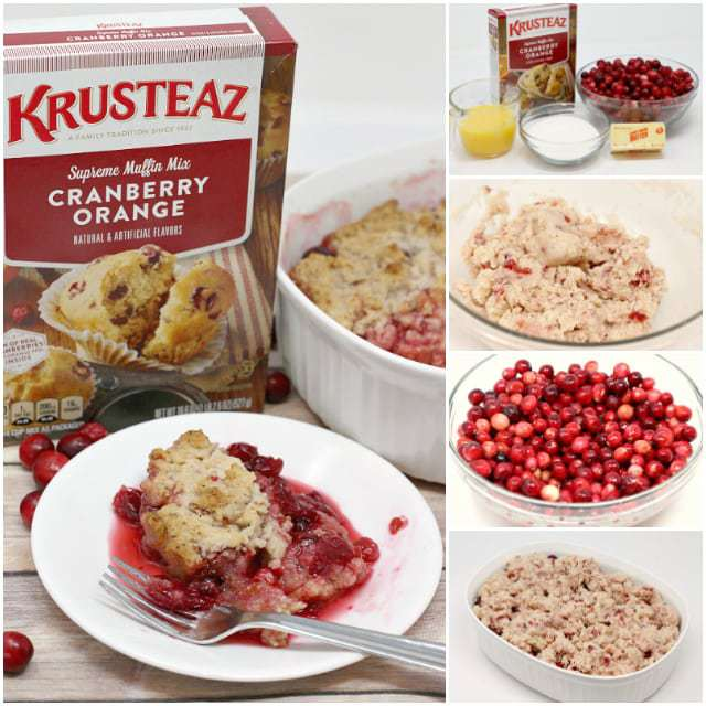 Cranberry Orange Cobbler is easily made with a muffin mix, fresh cranberries and orange juice - it's the perfect Thanksgiving dessert!