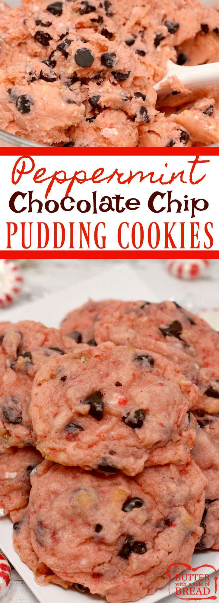 Peppermint Chocolate Chip Pudding Cookies are made with crushed candy canes, pudding mix, peppermint extract and chocolate chips - perfect for the holidays!
