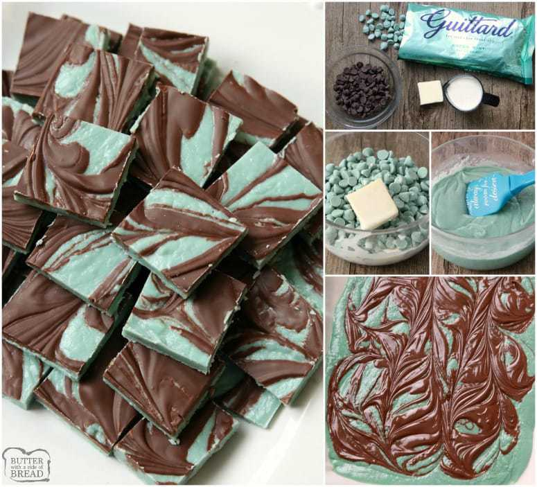 Mint Chocolates made in minutes with few ingredients. They taste just like Andes Mints! Easy to make & pretty, swirled chocolates perfect for the holidays.