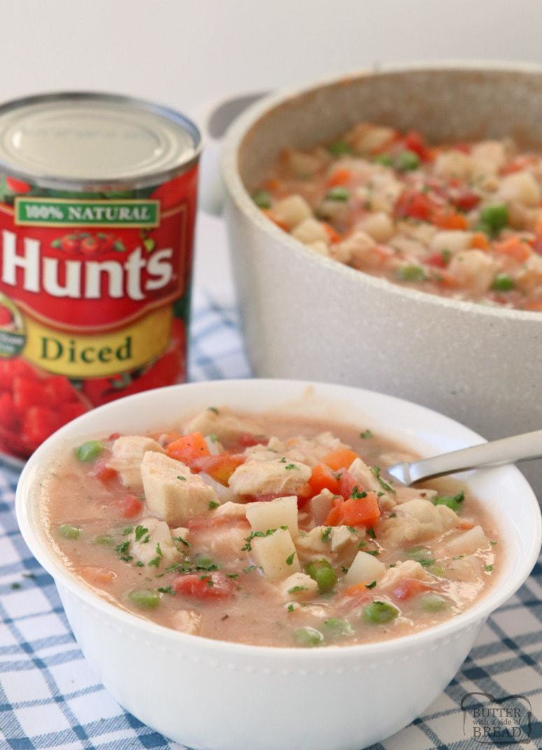 20-Minute Chicken Stew, perfect for busy nights & filled with tender chicken & vegetables. Our hearty, homemade chicken stew is made FAST & tastes delicious! Made with Hunt's Diced Tomatoes.