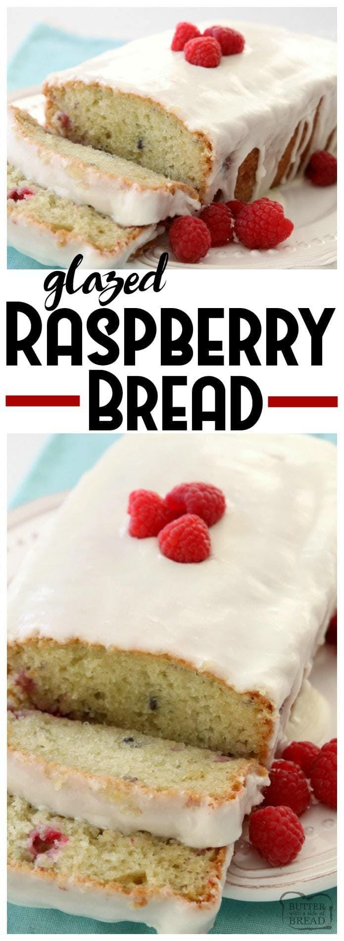 Glazed Raspberry Bread is an easy quick bread recipe made with yogurt and fresh raspberries & topped with an almond glaze. Incredible flavor and perfectly light & moist #raspberry #bread. Easy bread #recipe from Butter With A Side of Bread #quickbread #baking
