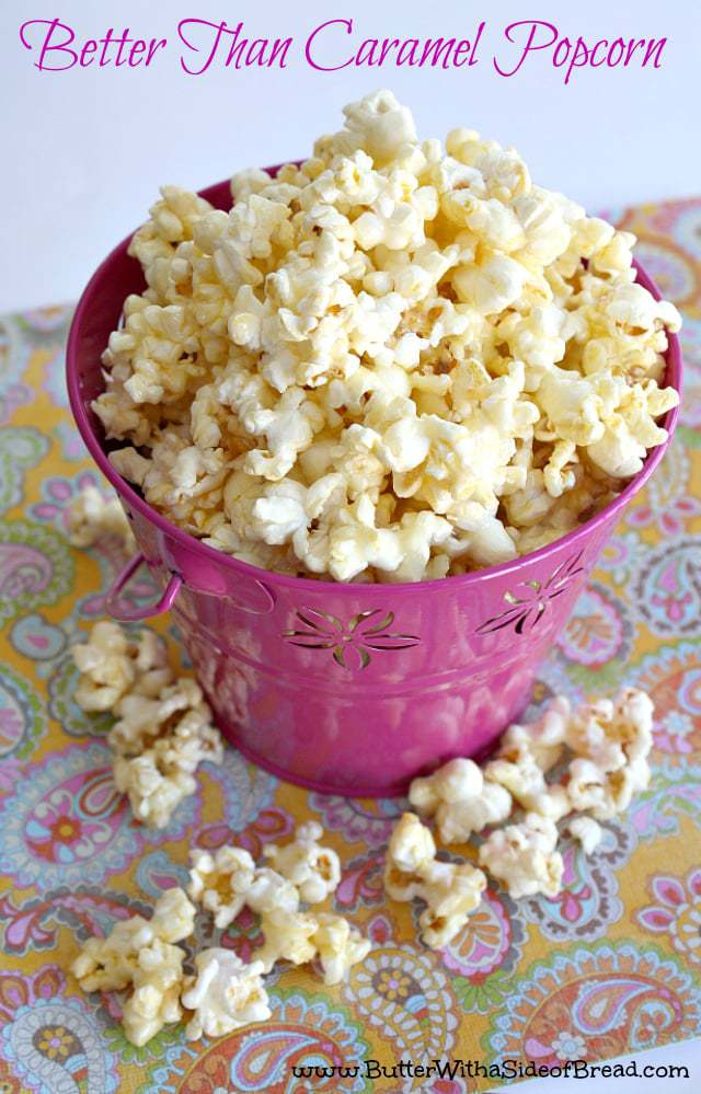 Better Than Caramel Popcorn is gooey and deliciously sweet! The coating for the popcorn is made with butter, sugar and whipping cream - that's it!