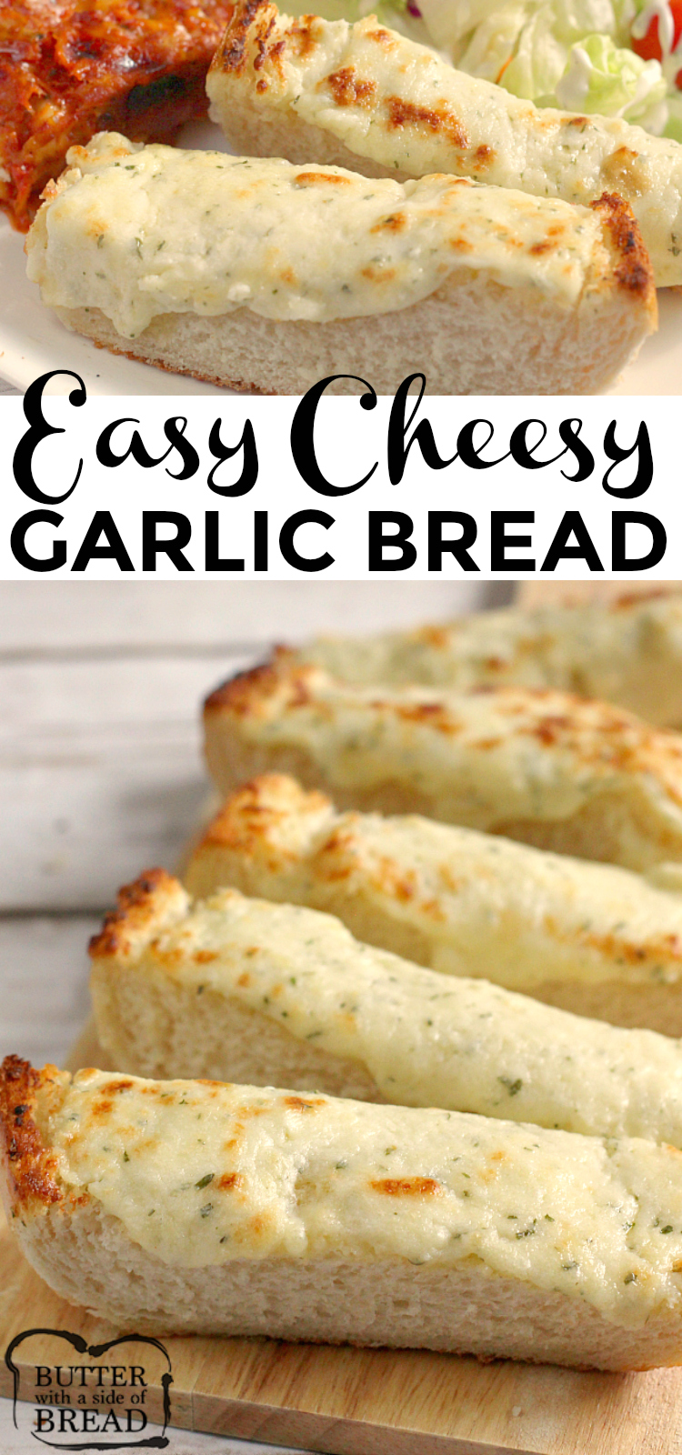 Easy Cheesy Garlic Bread is loaded with butter, cream cheese, garlic, parsley and mozzarella- it's the perfect side dish for every Italian meal!