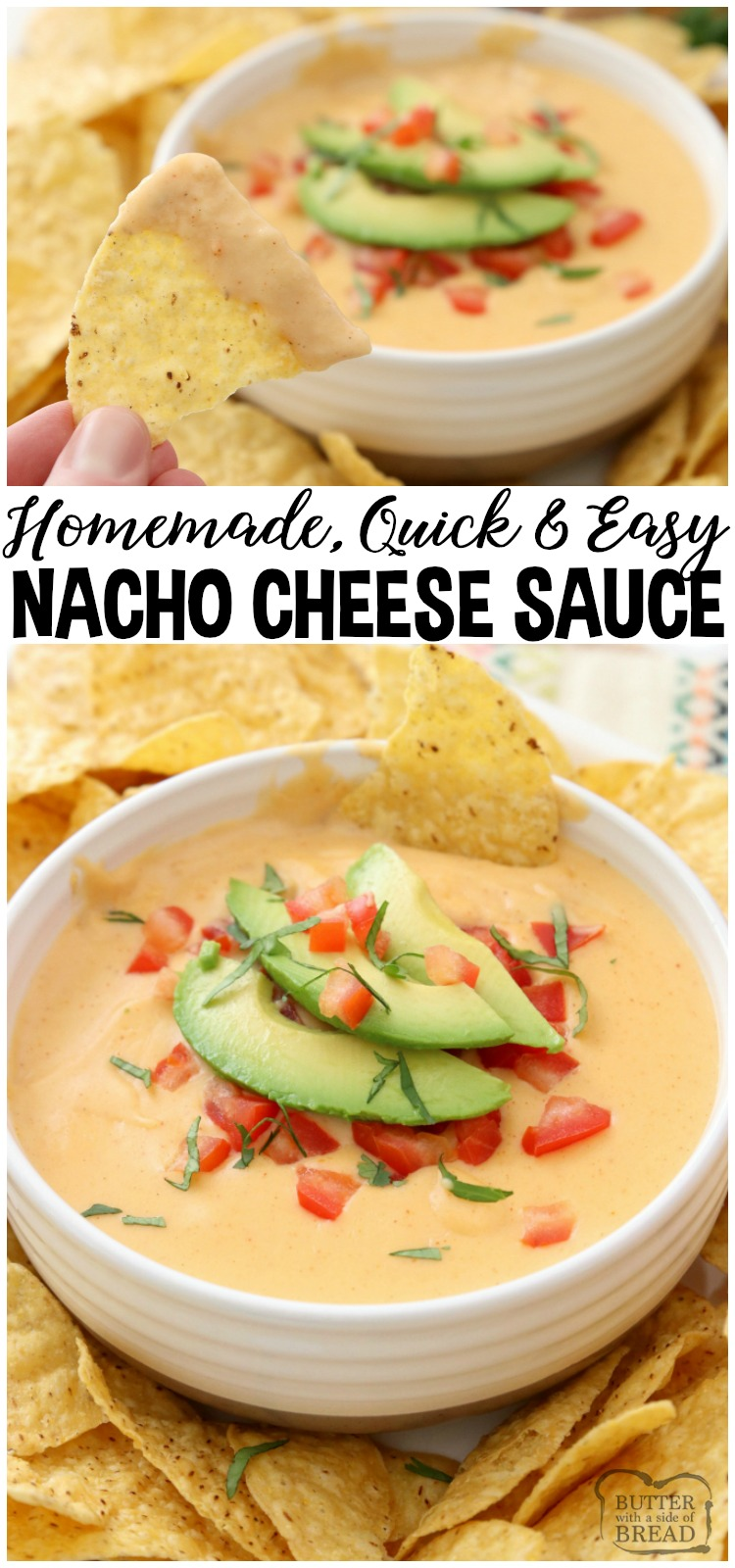 Easy Nacho Cheese sauce recipe with only 4 ingredients and is made in minutes! Smooth, creamy with great nacho cheese flavor, this recipe is perfect for parties, busy weeknight dinners and game day food! #nacho #cheese #homemade #nachos #recipe #appetizer #gameday #partyfood from BUTTER WITH A SIDE OF BREAD