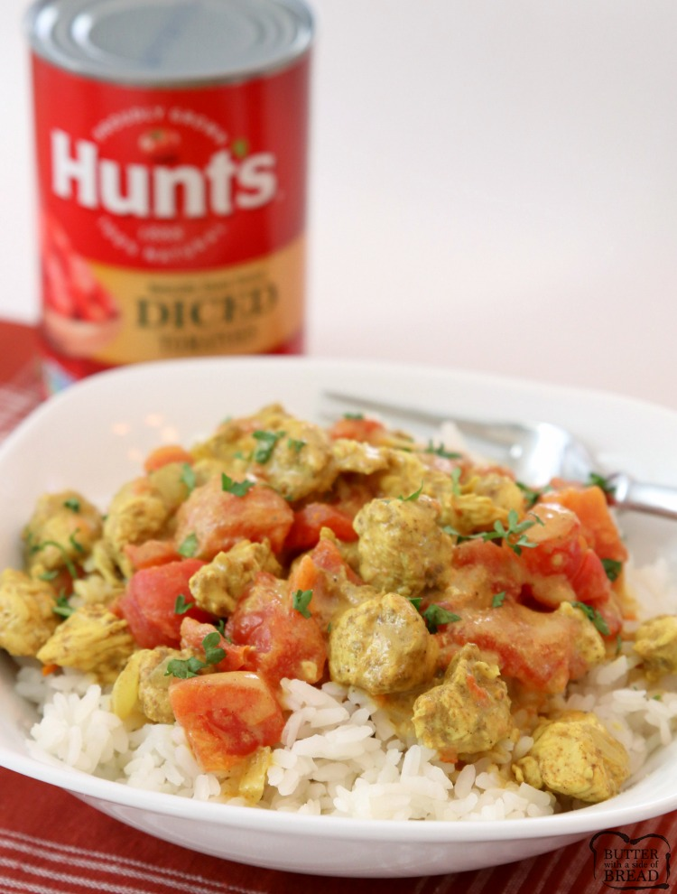 "[adthrive-in-post-video-player video-id=""1CTz2Tfp"" upload-date=""2018-11-02T19:11:49.000Z"" name=""Chicken Coconut Curry"" description=""Coconut Chicken Curry recipe perfect for a busy weeknight meal! Simple, flavorful and healthy 20-minute chicken dinner for anyone who loves a mild chicken curry. Our Coconut Curry Chicken recipe uses diced chicken, tomatoes, coconut milk and just enough curry to add flavor, but not make it too spicy."""