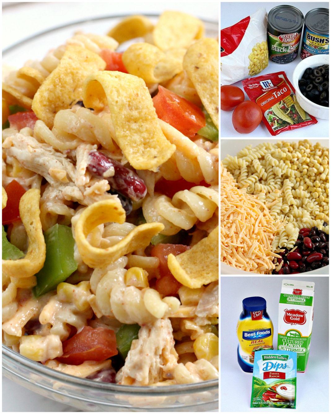 Step by step instructions on how to make Fiesta Ranch Chicken Pasta Salad