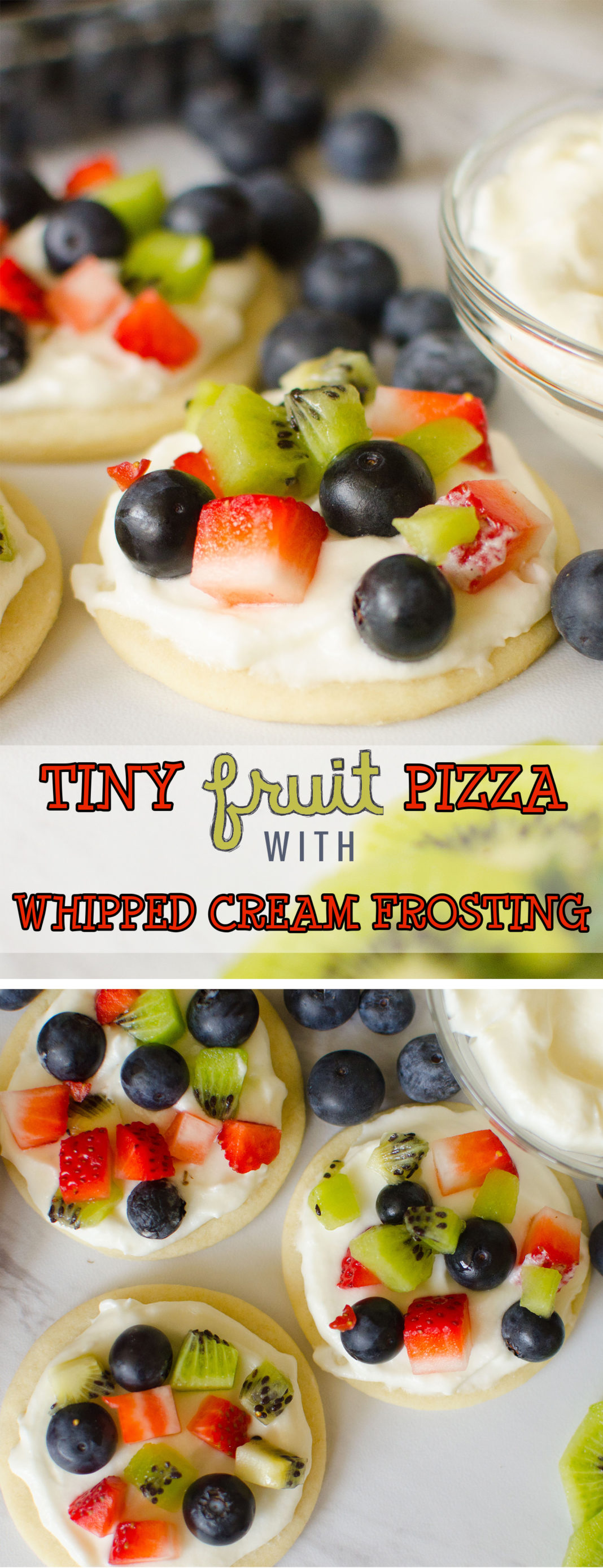 Fruit Pizza Cookies are all the goodness you get in a fruit pizza, in mini form! These smaller individual Sugar Cookie Fruit Pizzas are the perfect dessert. Soft, sugar cookie dough is baked into soft cookies, then topped with a homemade whipped cream frosting and diced fresh fruit. Easy & delicious treat that everyone loves! #Fruit #pizza #recipe #food #dessert #Spring #babyshower #party #partyfood #Cookies #cookie #fruitpizza from Butter With A Side of Bread