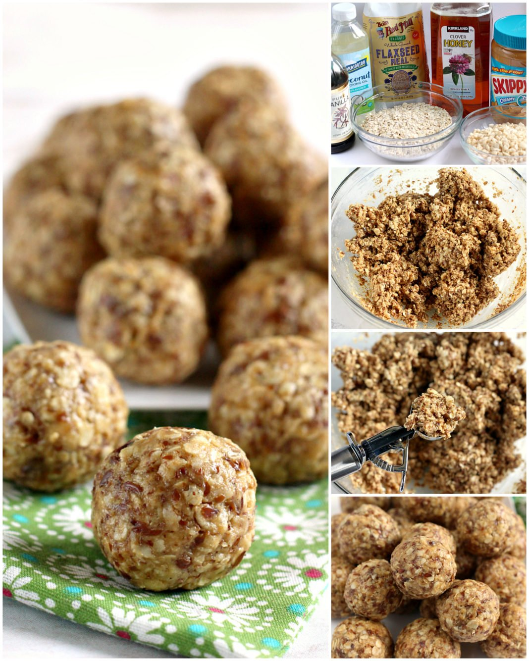 Oatmeal Peanut Butter Protein Balls are made with oats, peanut butter, honey, flaxseed, Rice Krispies, coconut oil and vanilla. These are healthy, filling and the tastiest protein ball recipe that I've ever tried!