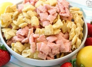 Strawberry Lemonade Chex Mix made easy in under 10 minutes with just 3 ingredients! Great flavor and everyone loves munching on this fun Chex Mix. Simple Chex mix recipe with strawberry lemon flavors perfect for any day that needs a little more fun!