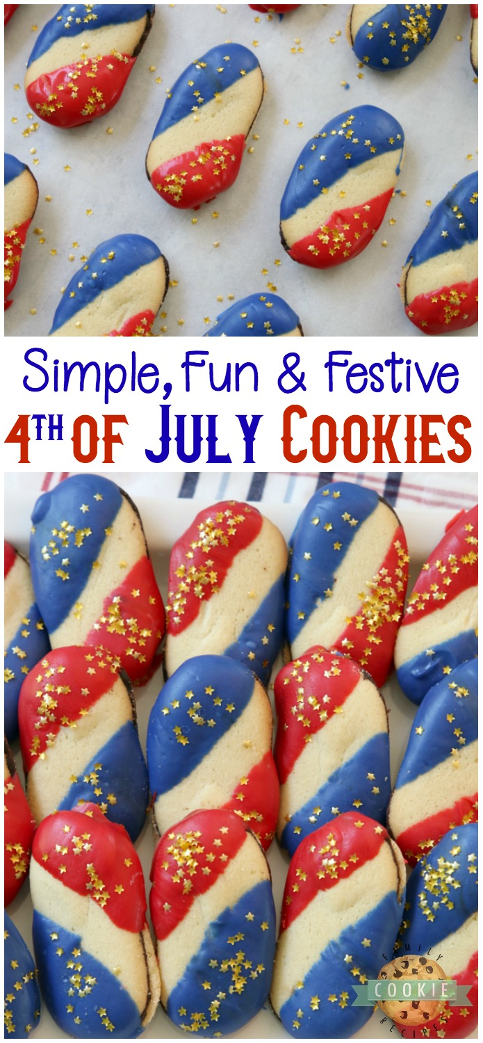 Super Simple 4th of July Cookies made with just 4 ingredients and NO BAKE! Easy red, white and blue cookies made with Milano cookies dipped in red and blue melting chocolate then sprinkled with gold stars. Made in just 15 minutes and they're perfectly patriotic! #4thofJuly #cookies #recipe from FAMILY COOKIE RECIPES