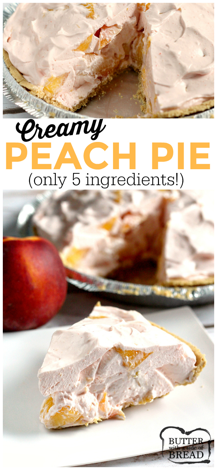 Our Creamy Peach Pie is made with only 5 ingredients in only a few minutes! Peach Jell-O, vanilla ice cream and fresh peaches are combined into a delicious, refreshing dessert!