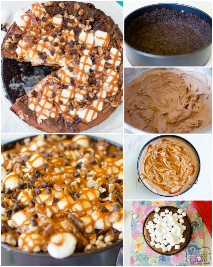 Rocky Road Cheesecake is a baked chocolate caramel swirl cheesecake with an Oreo crust. It's topped with toasted marshmallows, mini chocolate chips, pecans and caramel drizzle. This impressive looking cheesecake is an extremely easy, basic recipe that is definitely beginner friendly.