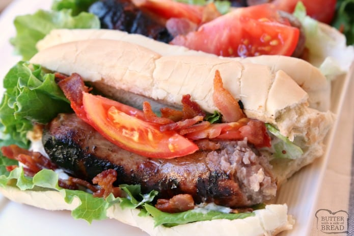 BLT Bratwurst recipe made easy with grilled bratwurst sausages topped with leaf lettuce, fresh tomatoes and bacon. Perfect bratwurst recipe for when you want a delicious, flavorful dinner on the table fast!