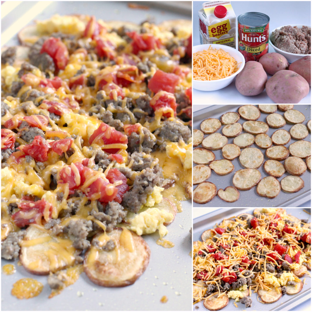 Step-by-step instructions and photos on how to make Easy Breakfast Nachos with potatoes, cheese, sausage and scrambled eggs.
