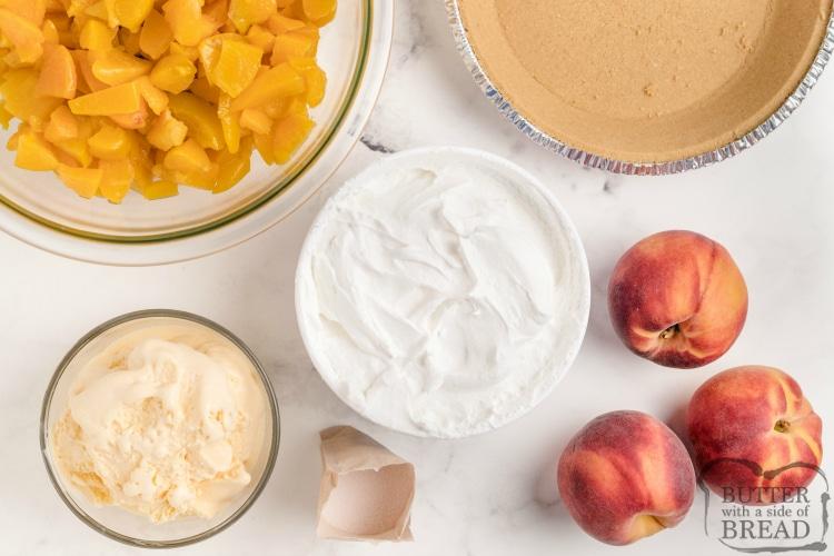 Ingredients in no-bake peach pie recipe