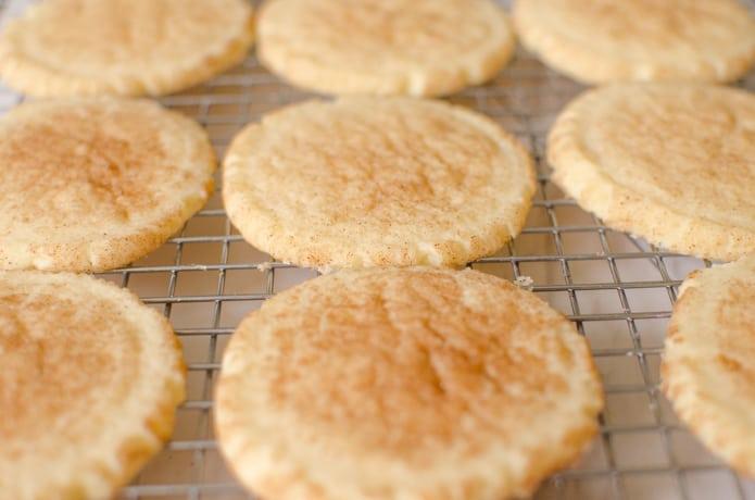 snickerdoodle cookies after baking