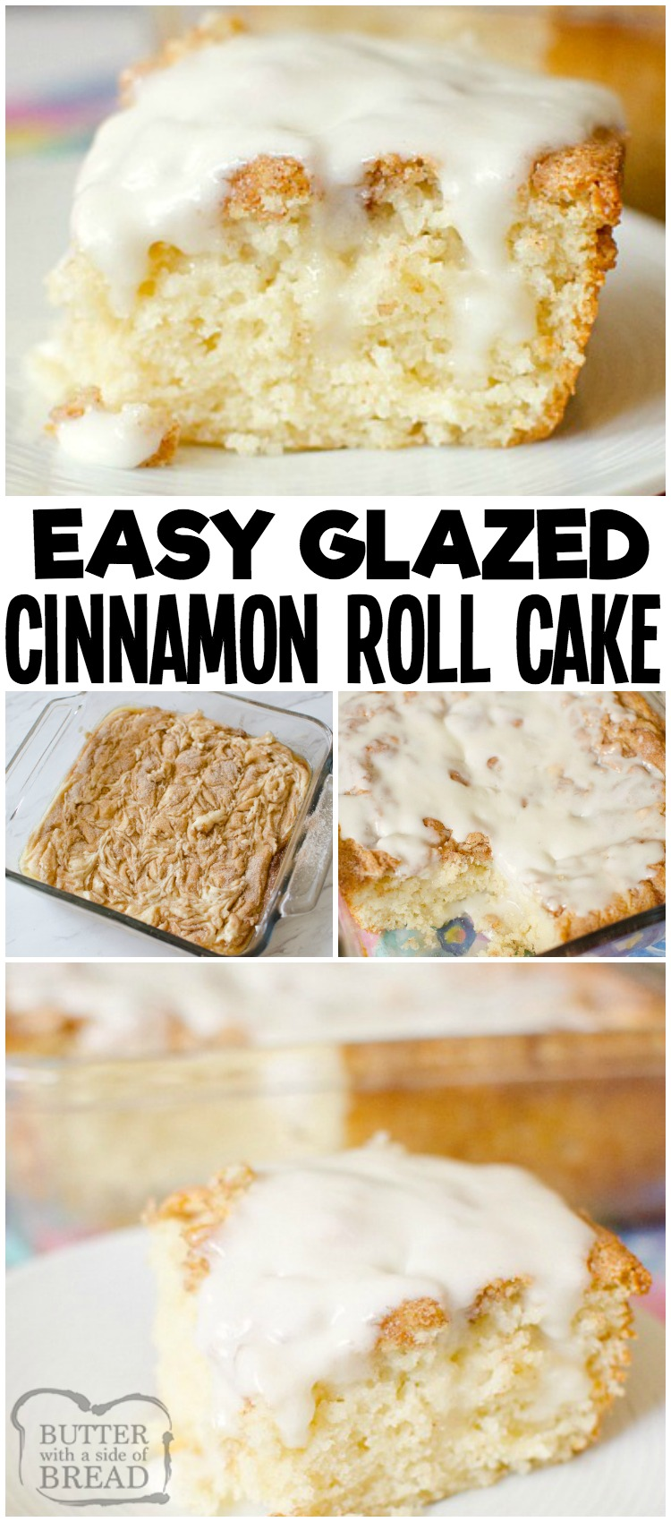 Cinnamon Roll Cake gives you all the classic cinnamon roll flavors with minimal work and time! Everyone loves the fluffy texture, cinnamon and sugar swirl top and the sweet vanilla glaze in this easy cinnamon roll cake recipe. #breakfast #brunch #cake #cinnamon #cinnamonroll #baking #dessert #food from BUTTER WITH A SIDE OF BREAD
