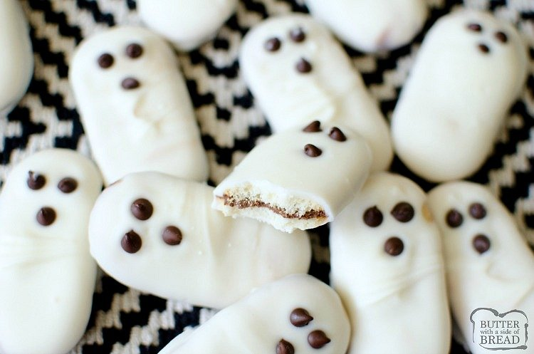 3 Ingredient Easy Ghost Halloween Cookies are a cute and festive treat! Made in minutes & devoured in seconds, these easy Halloween cookies are a hit!