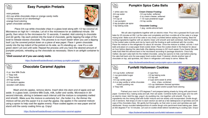 Printable Halloween Recipe Cards