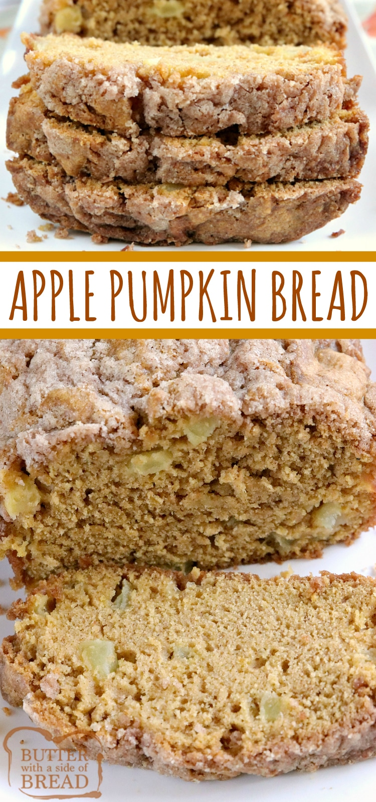 Apple Pumpkin Bread is a delicious quick bread recipe made with pumpkin and fresh apples! The crumbly cinnamon and sugar streusel on top adds the most amazing texture and flavor to this delicious pumpkin bread recipe.