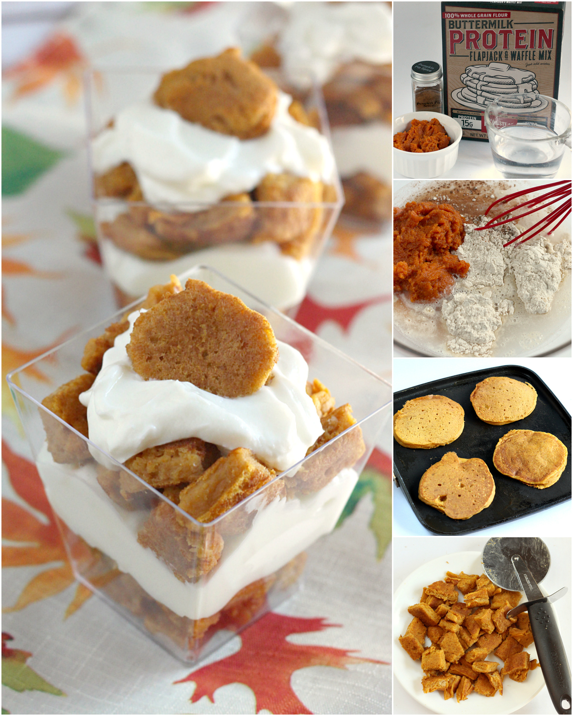 Step-by-step instructions on how to make Pumpkin Protein Pancake Parfaits with greek yogurt and protein pancake mix.