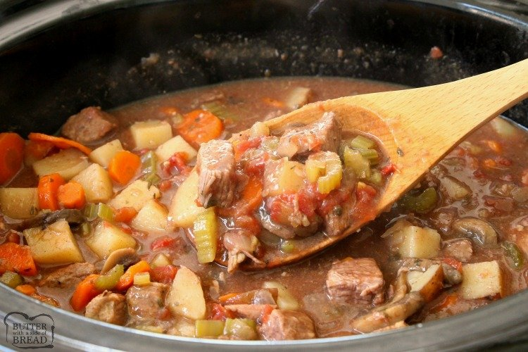 Crock Pot Stew recipe made with tender chunks of beef, loads of vegetables and a simple mixture of broth and spices that yields the BEST, easiest beef stew ever!