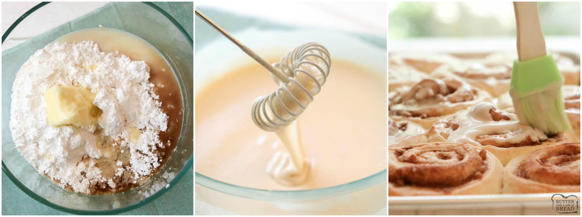 How to make the glaze for cinnamon rolls. Vanilla glaze.
