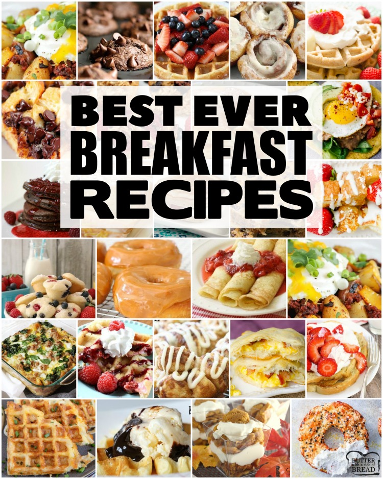 Best Breakfast recipes for anyone who loves breakfast foods! Wide variety of breakfast choices- sweet, savory, breakfast for a crowd or breakfast for two!