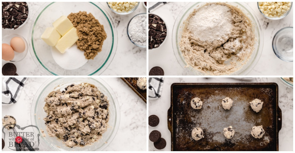 Step by step instructions on how to make cookies and cream cookies