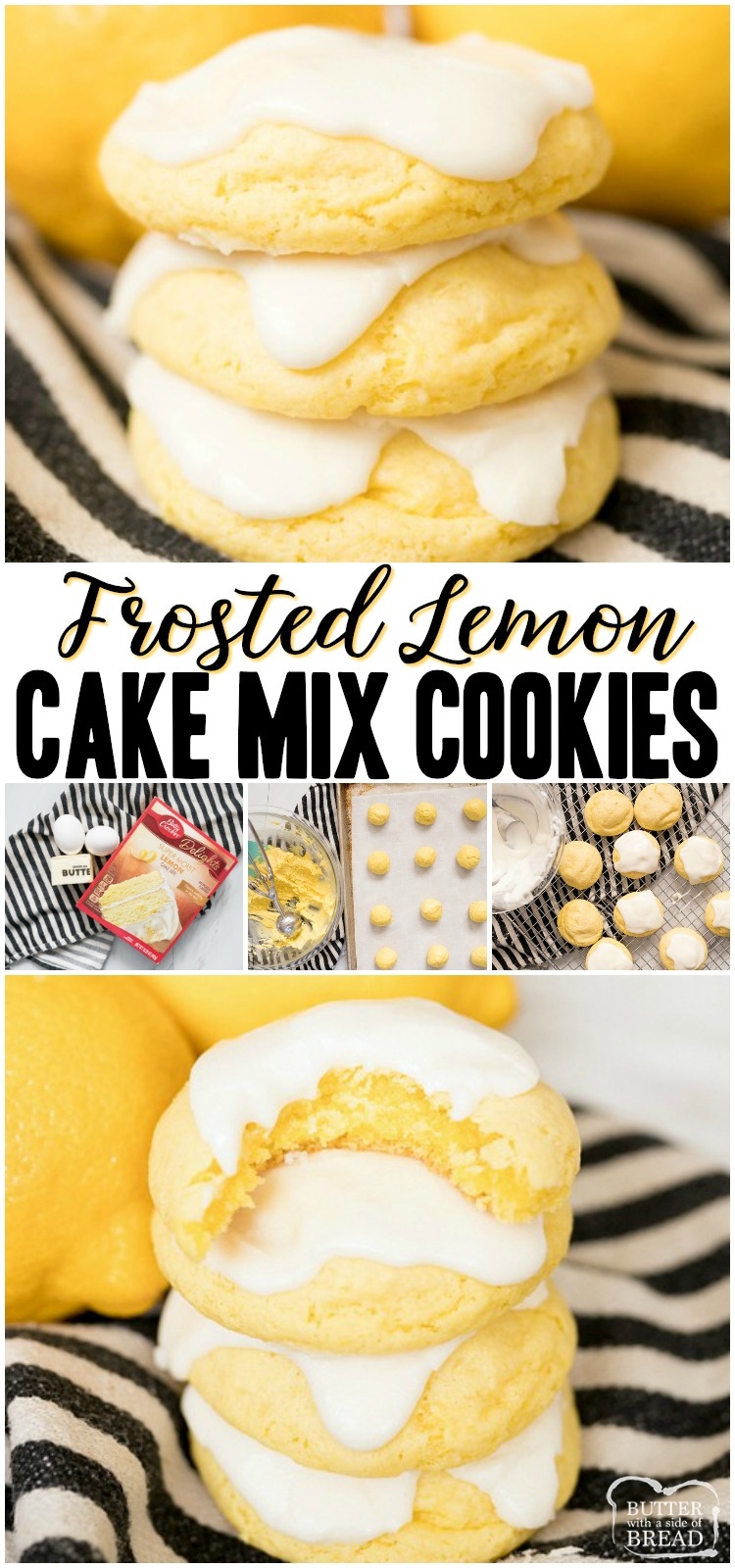 Lemon Cake Mix Cookies are soft & delicious lemon cookies made using a Lemon Cake Mix, butter and eggs. Topped with a sweet lemon glaze, this quick & easy lemon cake mix cookie recipe is the best! #lemon #cookies #cakemix #cookie #recipe #dessert #baking #lemons from BUTTER WITH A SIDE OF BREAD