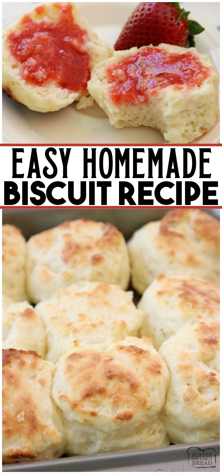 Easy Biscuit Recipe made from scratch in minutes. Perfect soft, flaky texture with fantastic buttery flavor. This will be your new favorite biscuit recipe! Updated with video and expert advice on how to make homemade biscuits. #biscuits #homemade #howtomakebiscuits #bread #baking #biscuit #recipe from BUTTER WITH A SIDE OF BREAD