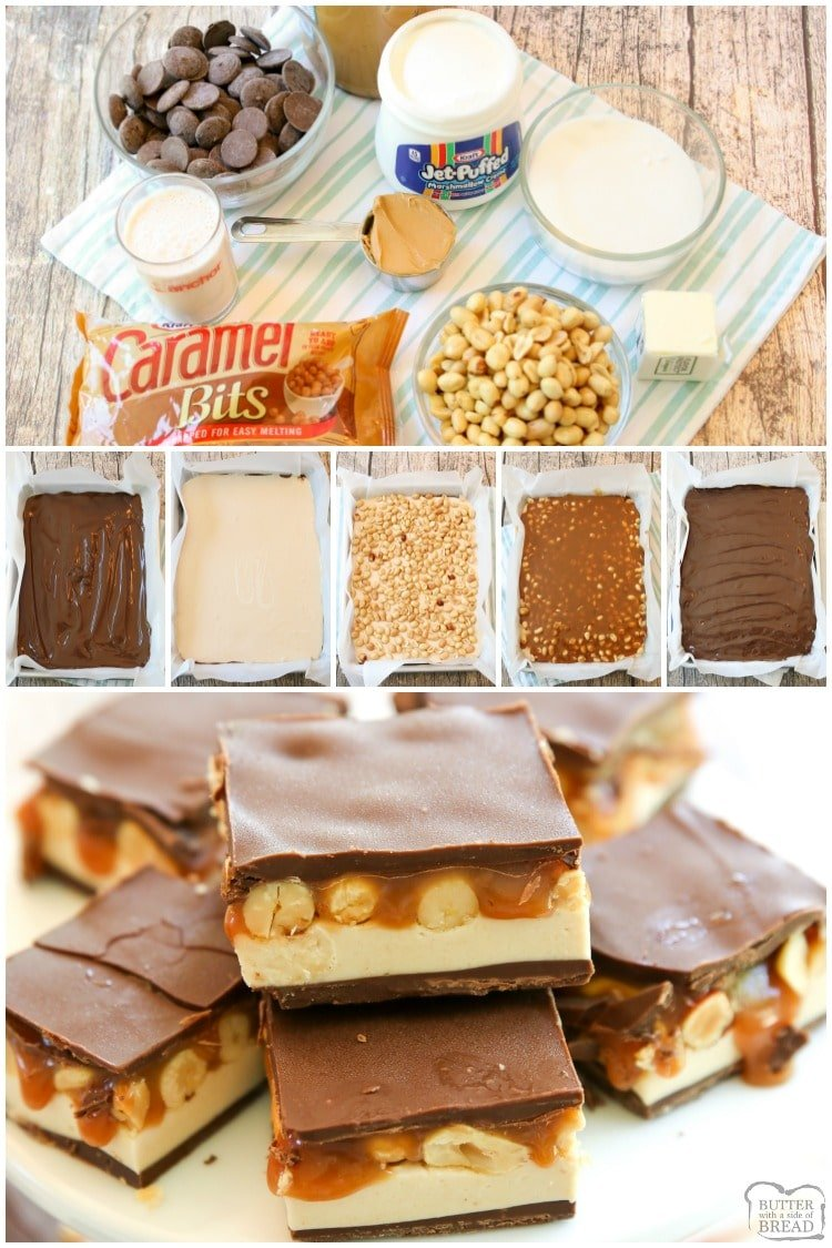 HomemadeSnickers Barsrecipe makes you love your favorite candy bar even more. These chocolate peanut butter bars are surprisingly easy to make and melt in your mouth tasty!