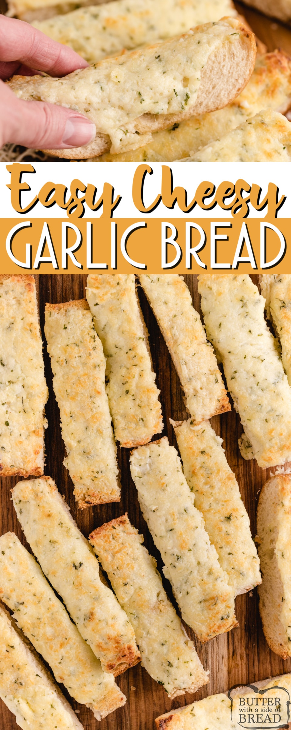 Easy Cheesy Garlic Bread is loaded with butter, cream cheese, garlic, parsley and mozzarella- it's the perfect side dish for every Italian meal! Perfectly seasoned and loaded with cheese, this garlic bread recipe can be made and served in under 10 minutes!