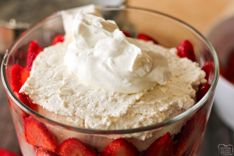 Our Strawberry Trifle recipe is a delicious dessert layered with fresh strawberries, angel food cake and cream cheese whipped cream! Elegant dessert that's made in minutes with very simple ingredients.