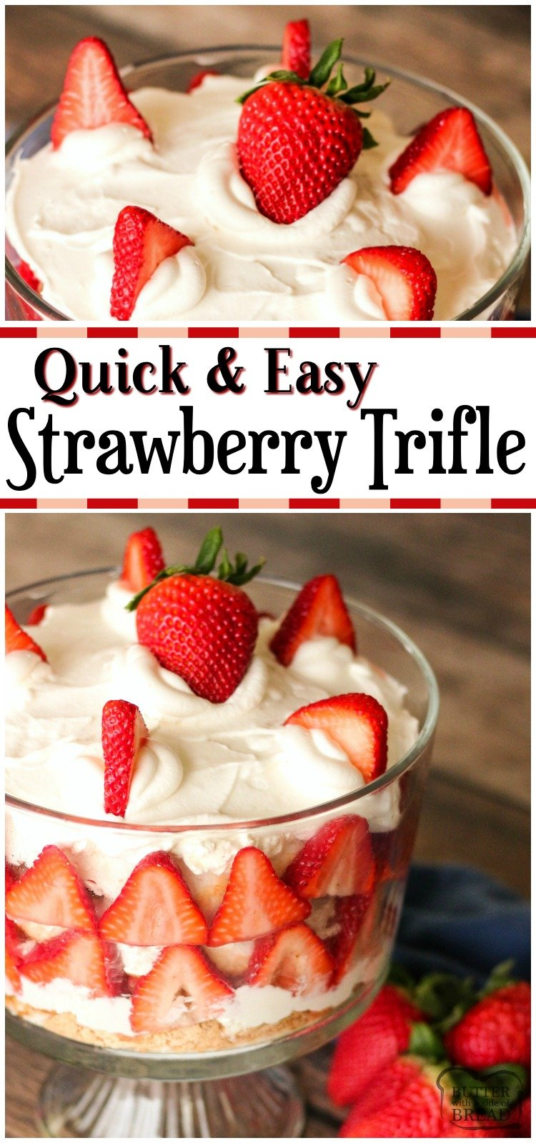 Quick & Easy Strawberry Trifle recipe is a delicious dessert layered with fresh strawberries, angel food cake and cream cheese whipped cream! Elegant trifle dessert that's made in minutes with very simple ingredients.