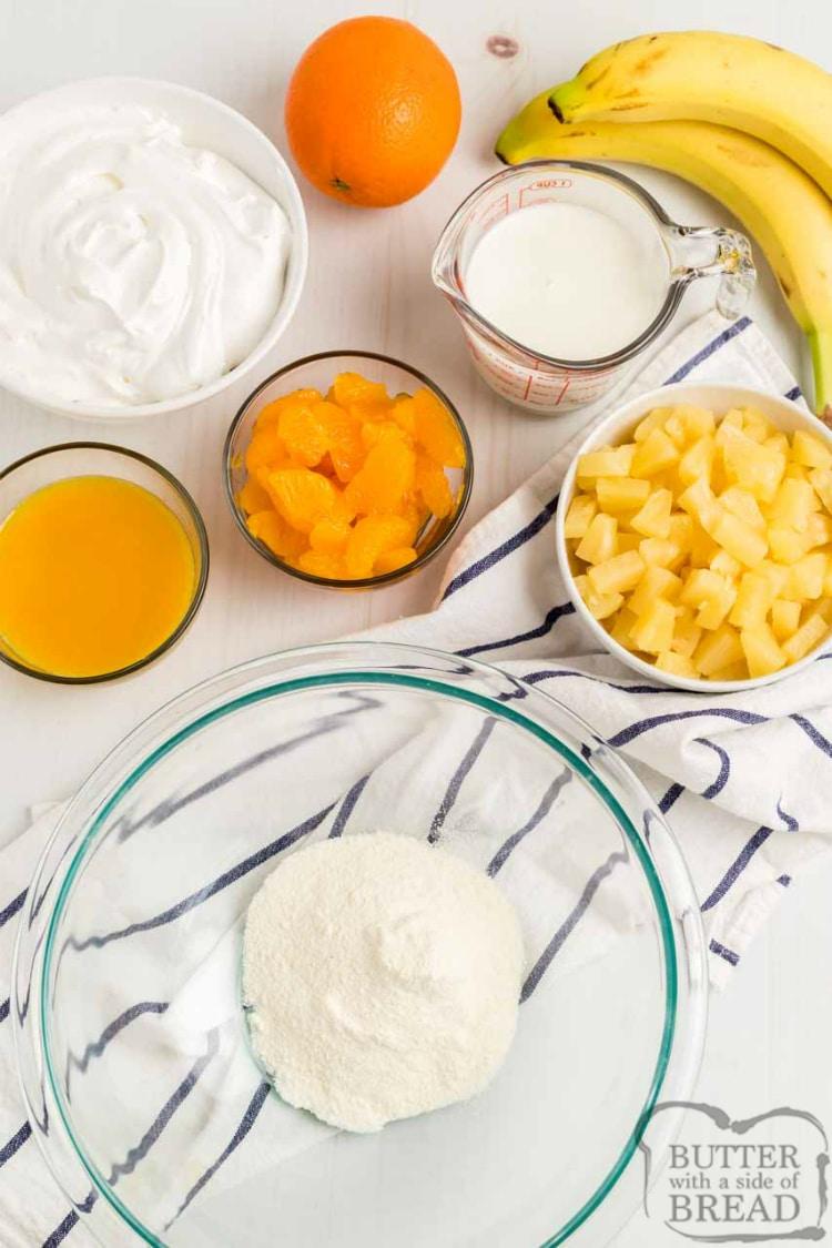 Ingredients in fruit salad