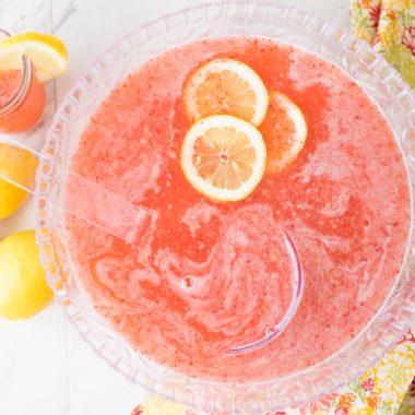 homemade strawberry lemonade party punch