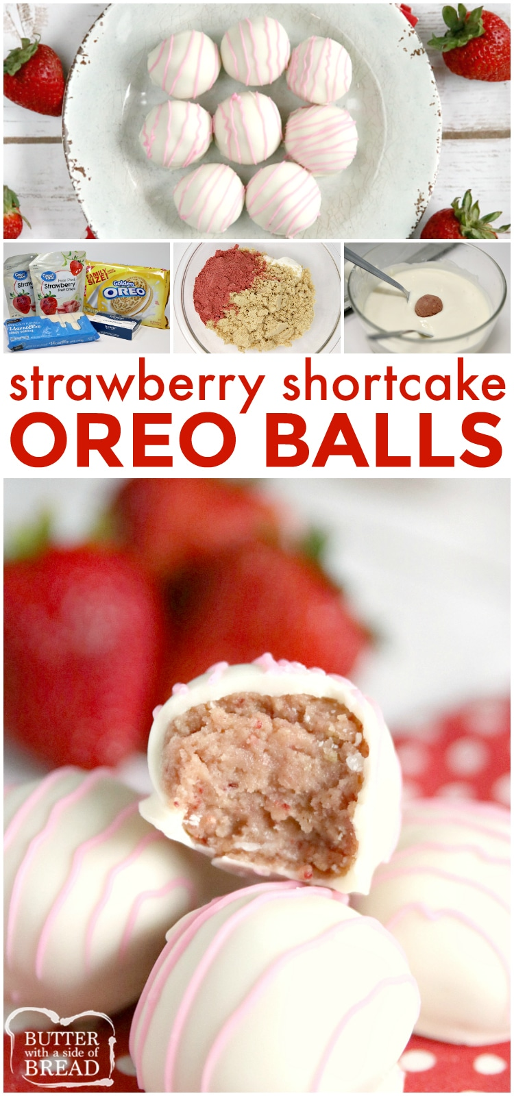Strawberry Shortcake Oreo Balls are made with just 4 ingredients with no baking required! Made in just a few minutes with freeze dried strawberries and Golden Oreo cookies!