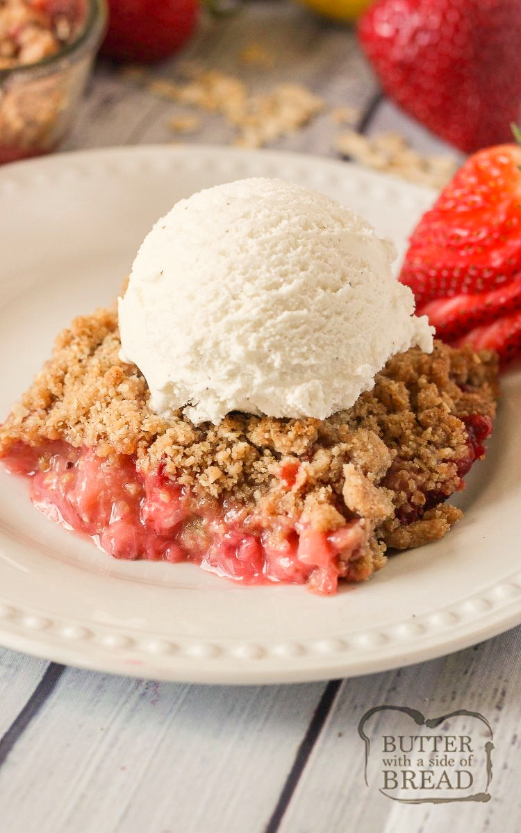 Easy Strawberry Crisp Recipe Butter With A Side Of Bread